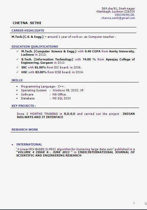 cv and resume templates Sample Template Example ofExcellent - indian resume format