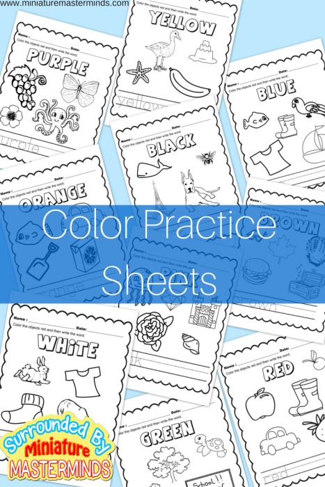 Free Printable Color Practice Sheets | Preescolar, Materiales ...