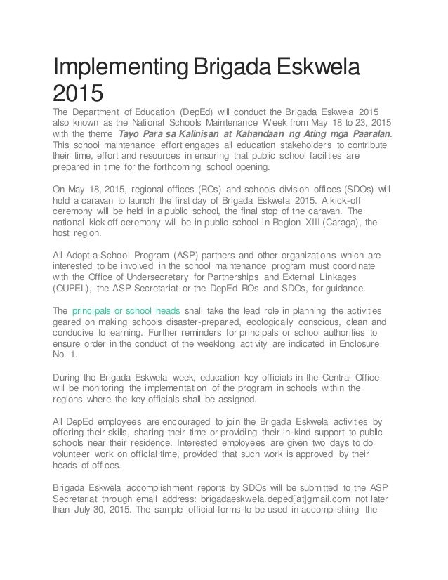 Accomplishment Report Implementingbrigada Eskwela The Department Of