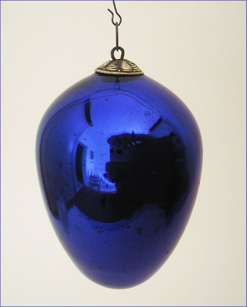 Antique Christmas Ornament, Large Kugel Egg, Cobalt Blue