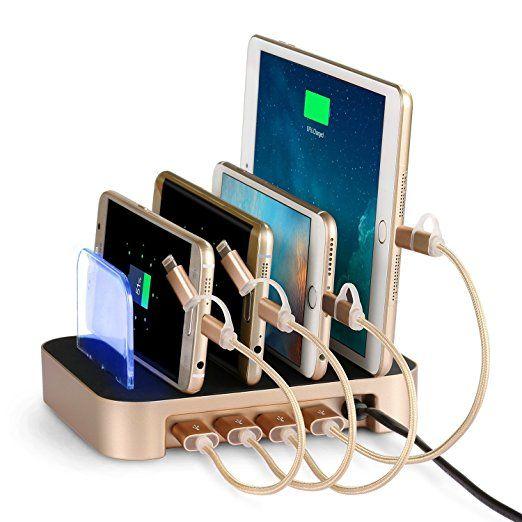 24W 4-Port USB Charging Dock NEXGADGET Detachable Multi-Port USB Charging Station