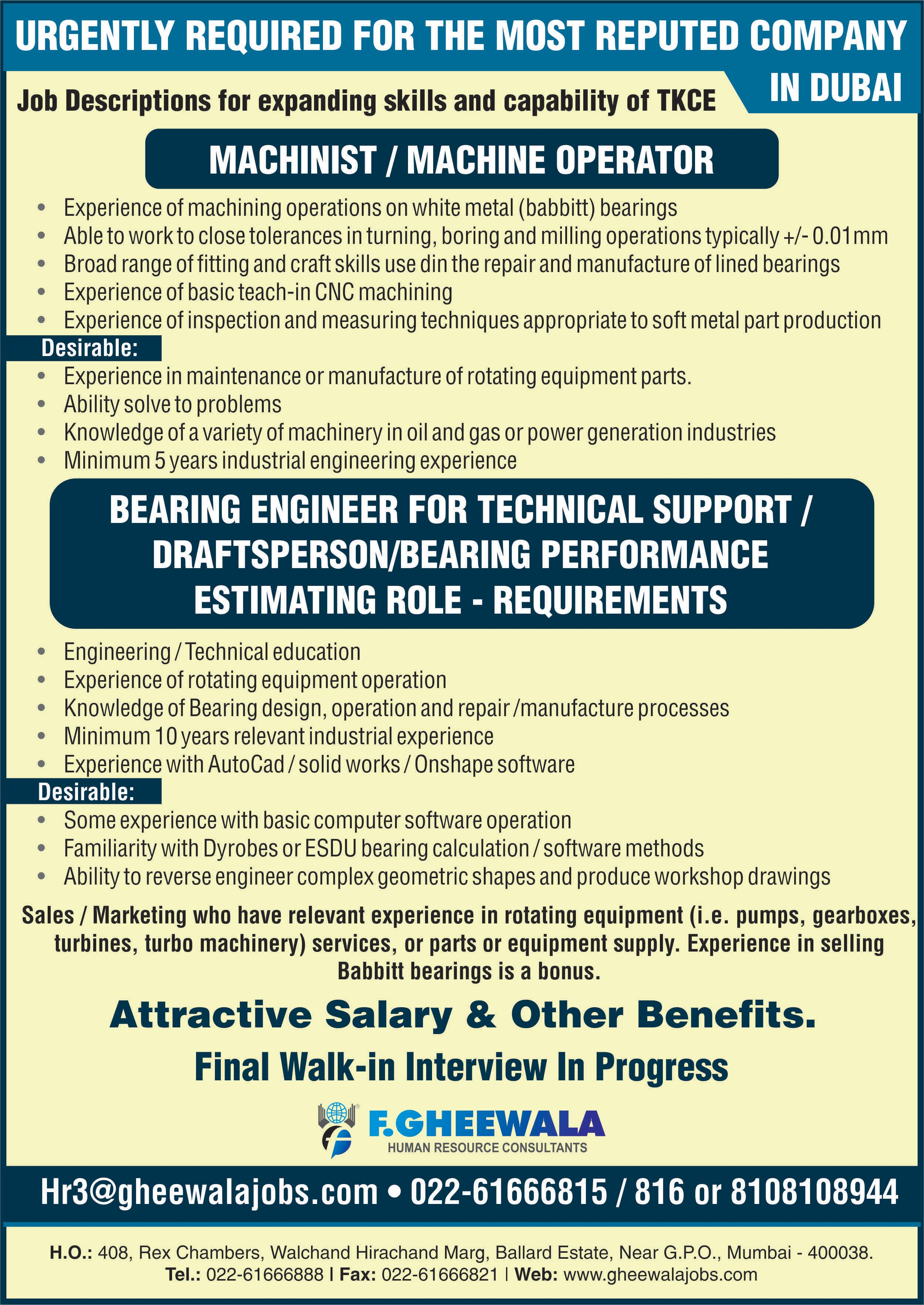 Urgently Required For The Most Reputed Company In Dubai Please