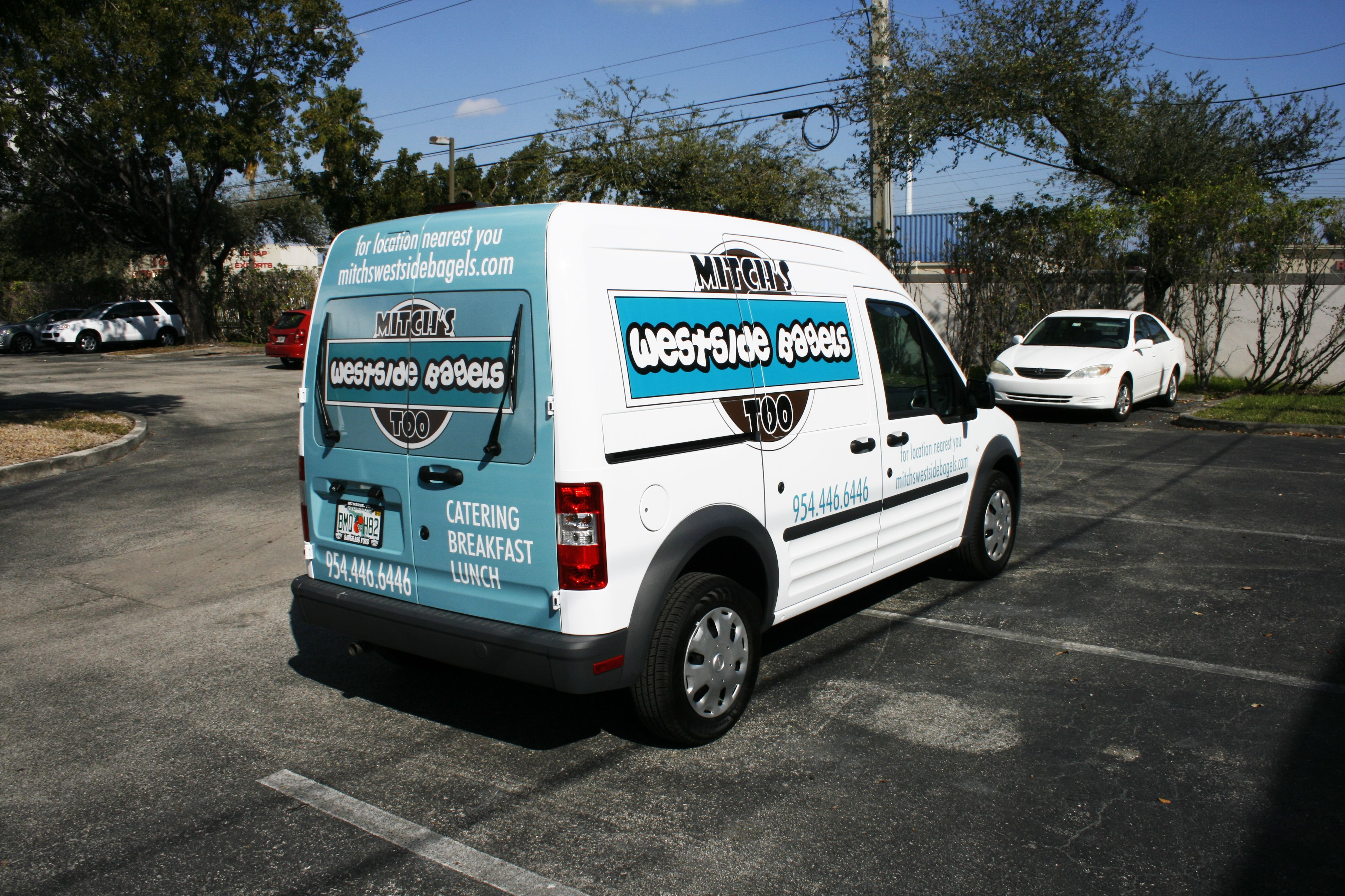 Ford transit connect vinyl graphics lettering mitch s bagels http www