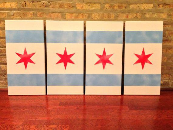 12X24 Four Panel Chicago Flag Canvas Stencil Art | Stenciling ...