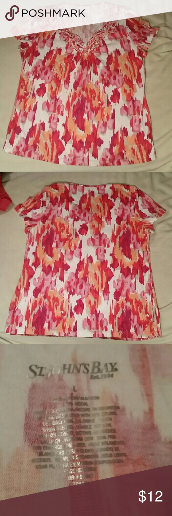 St Johns Bay Multicolored tshirt Very cute shirt St. Johns Bay size L. Good condition. Feel free to make offers. My closet has items of all sizes so look around! St. John's Bay Tops Blouses