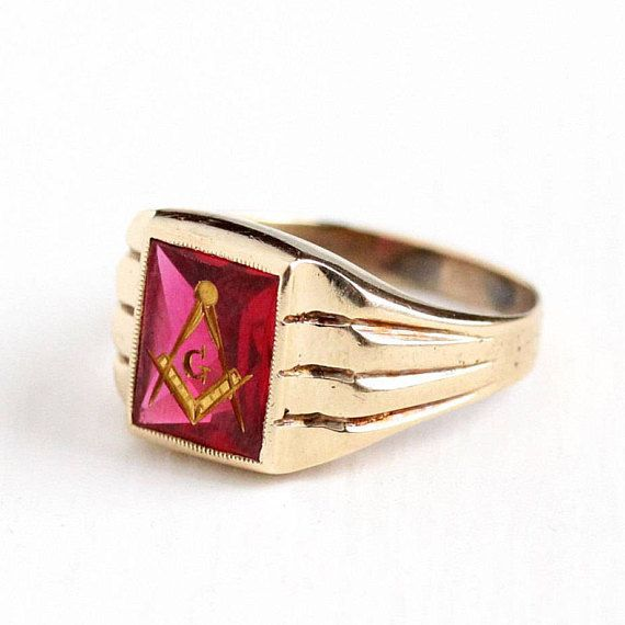 Sale Vintage Masonic Ring 10k Rosy Yellow Gold Created Ruby Men S 1940s Size 9 Gilded G Compass R Antique Mens Jewelry Antique Rings Vintage Masonic Ring