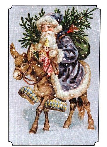 (11489) Postcard - Father Christmas / Donkey - Vintage Greeting Card  (modern)