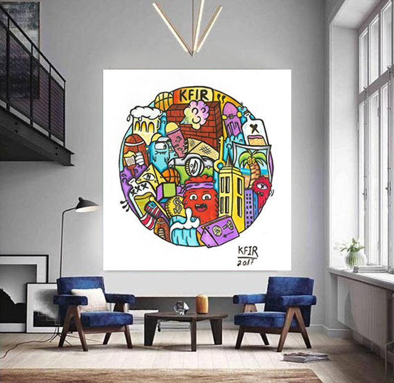 Wild Party Pop Art Wall Decor Extra Large Graffiti Style Pop Etsy Largewallart Graffiti Streetart Pop Art Graffiti Styles Pop Art Print
