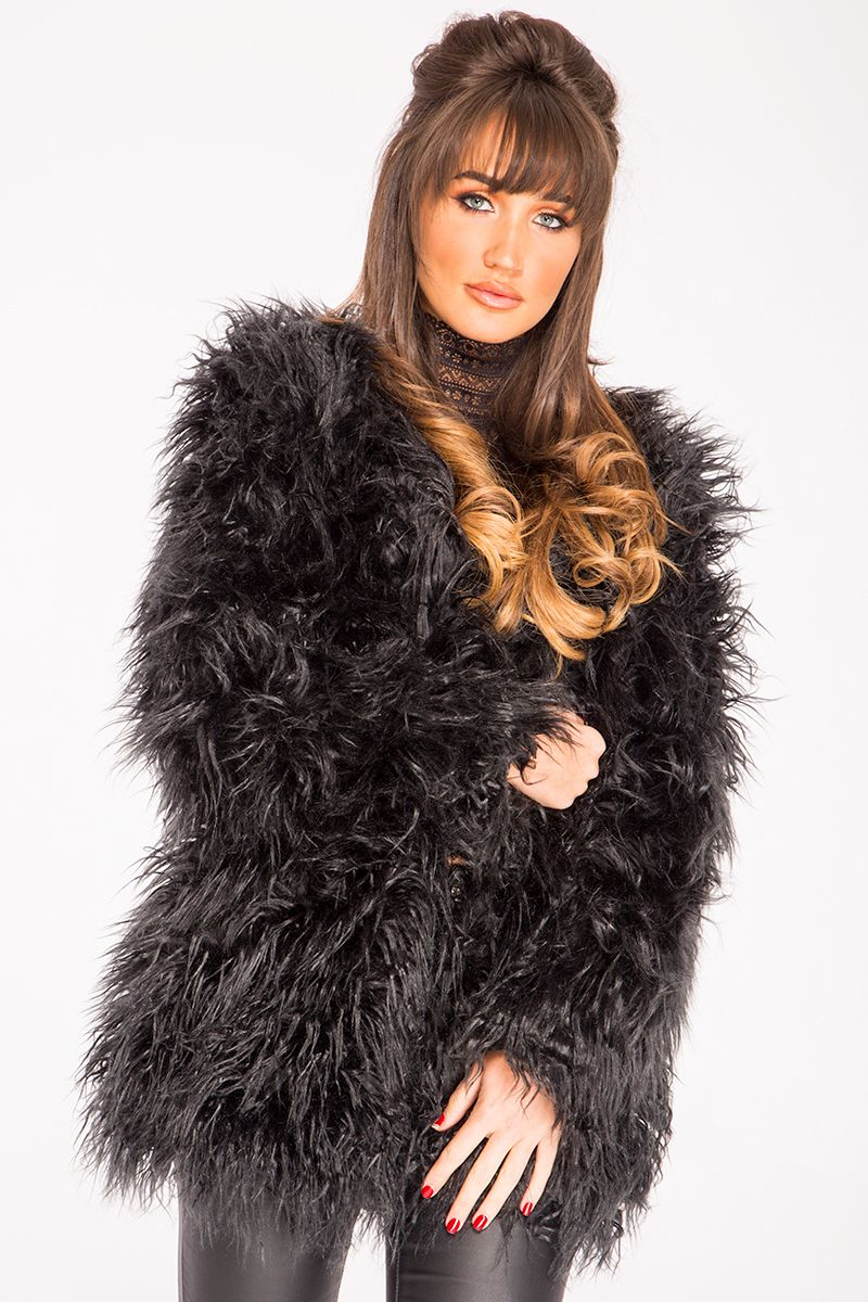 5920621d78145 Megan McKenna Black Faux Fur Shaggy Jacket