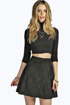 Boutique Millie Suedette Skater Skirt at boohoo.com