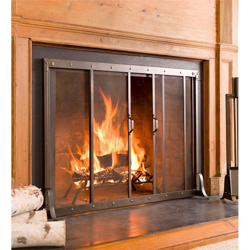 """Large Riveted Fireplace Screen, 44""""L x 6""""D x 321/2""""H"""