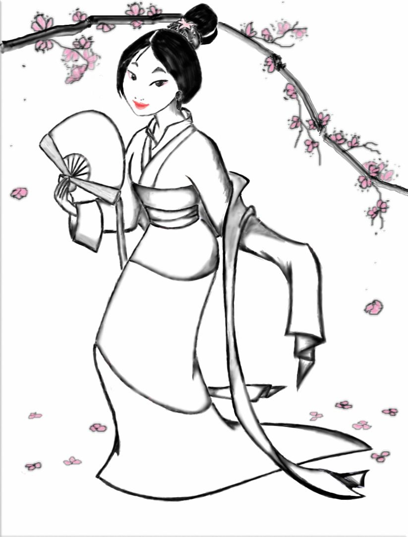 Disney princess coloring pages to print mulan