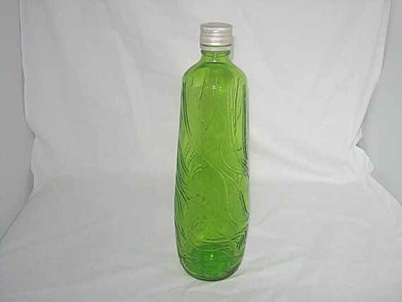 Beautiful Green Colored Swirl Design Bottle With Top by Junkblossoms on Etsy