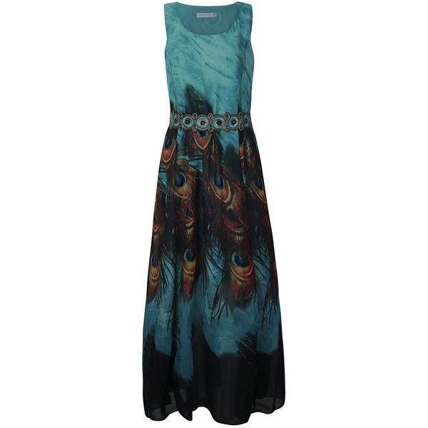Women Sleeveless O Neck Peacock Printed Maxi Dress Bohemian Summer... (13.445 CLP) ❤ liked on Polyvore featuring dresses, peacock blue, blue dress, boho summer dresses, boho dresses, sleeved maxi dress and beach dresses