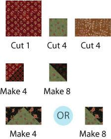 Cut and assemble the components needed for the Arizona quilt block pattern.