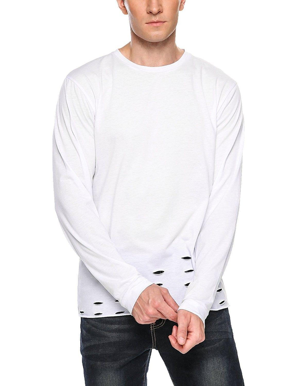 e50f31b1 Men's Long Sleeve Hipster Hip Hop Basic Tops T-Shirt With Holes ...