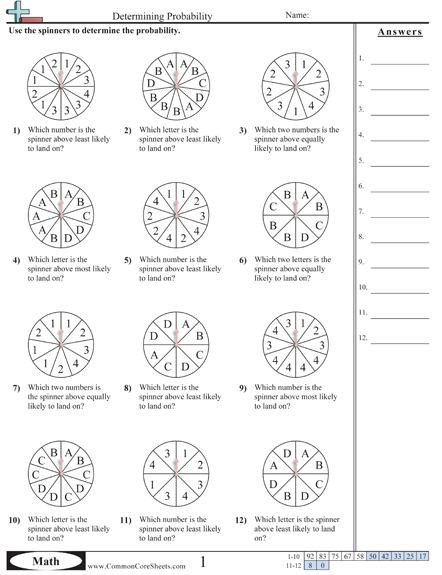 Probability Worksheets  Math    Worksheets Math And