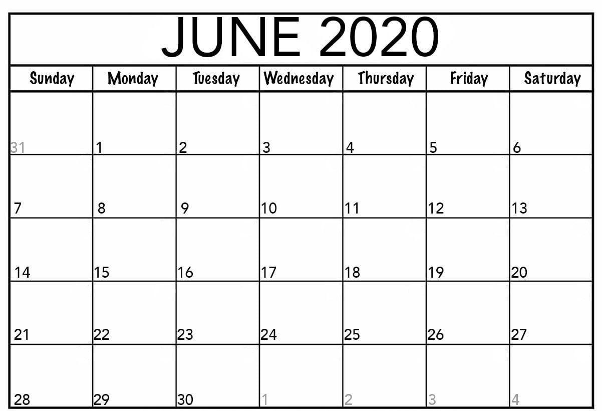 Free Printable June 2020 Calendar Templates With Notes Monthly