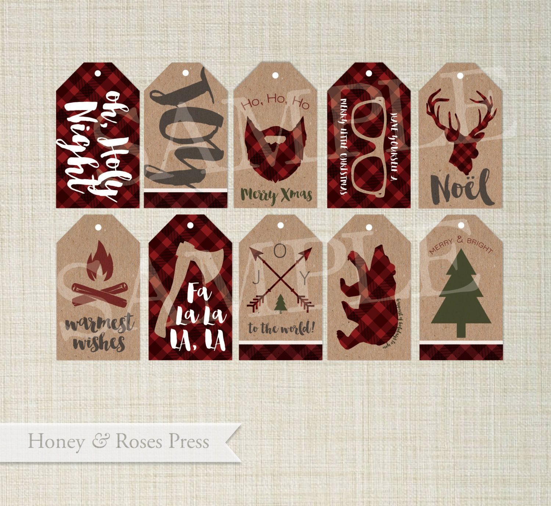 Woodsy Christmas Tags . Lumberjack Christmas . Rustic ...