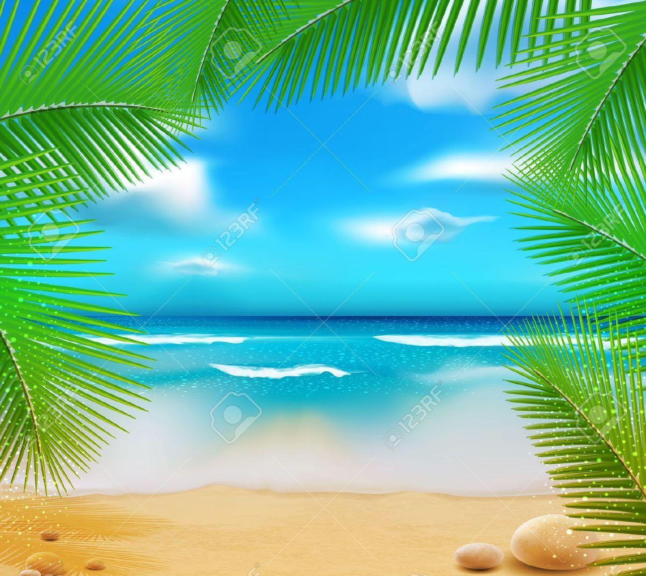 12866897-paisaje-con-un-mar-de-color-azul-celeste-arena-dorada-y ...