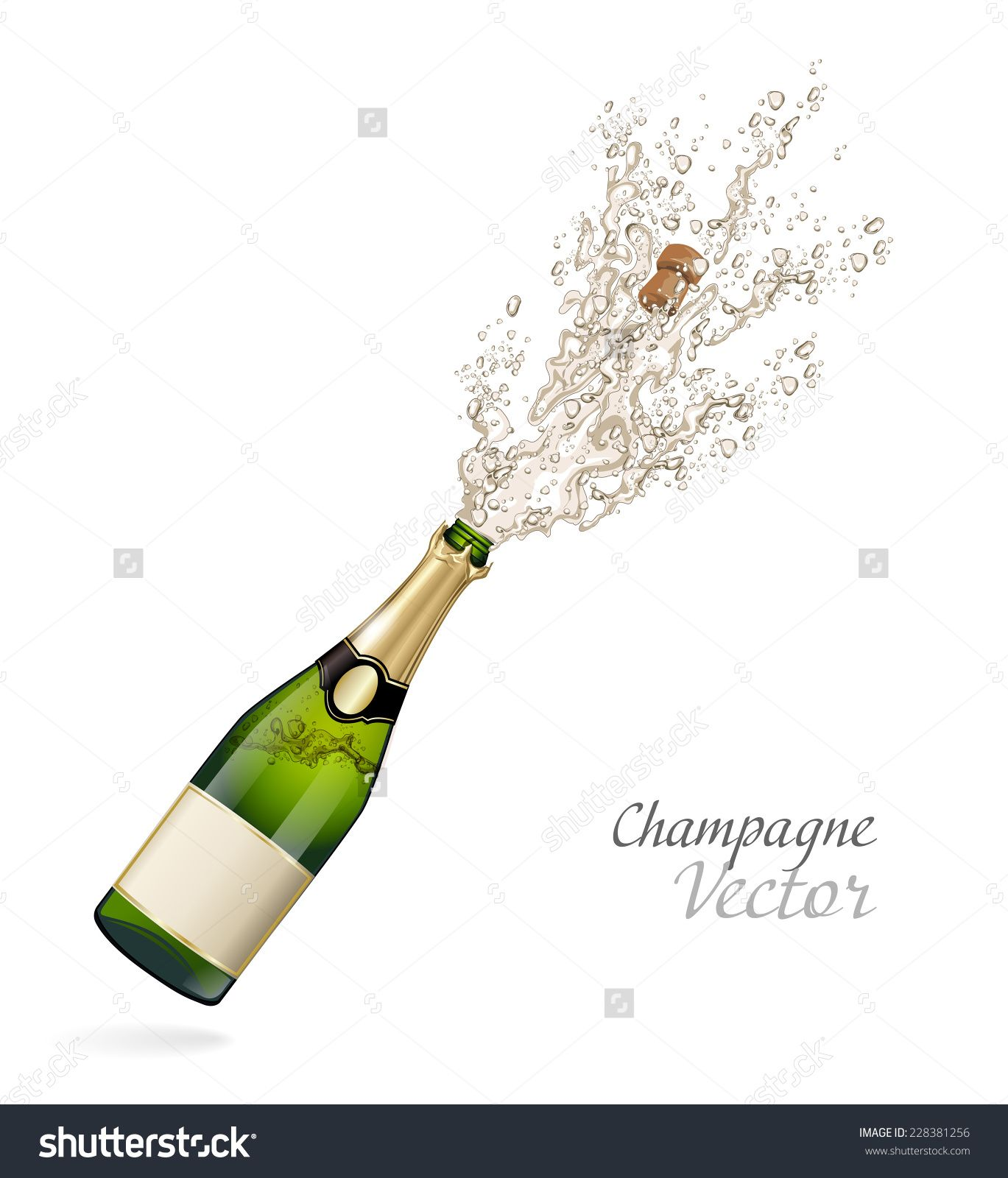 Vector Bottle Of Champagne Explosion Champagne Bottle Champagne Bottles