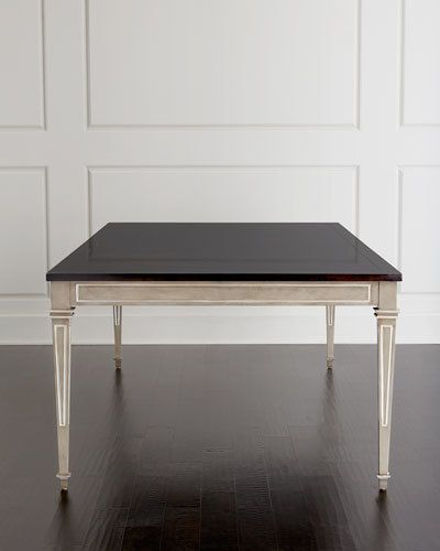 "Elegant dining table. Alder wood and veneers. 100""L x 48""W x 30""T. Made in the USA. Boxed weight, approximately 225 lbs."
