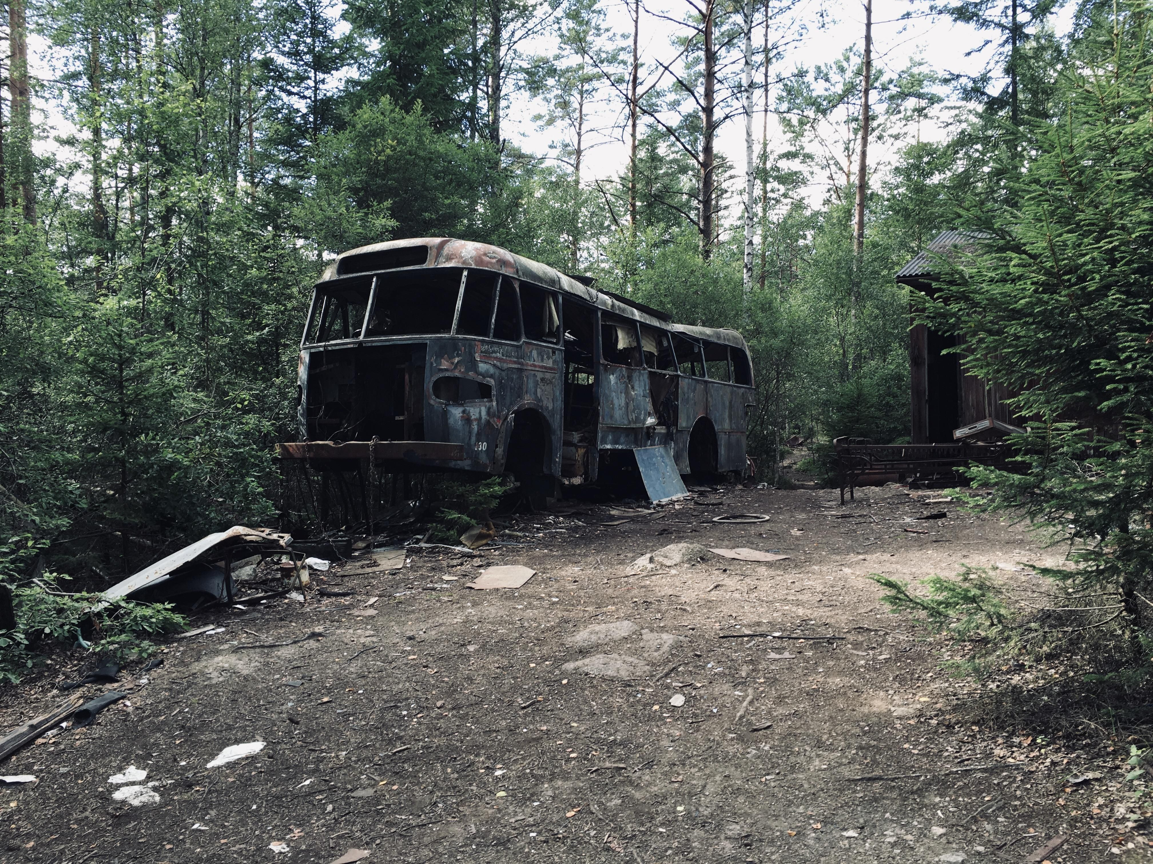 Abandoned bus, Car Cemetery, Sweden [OC]