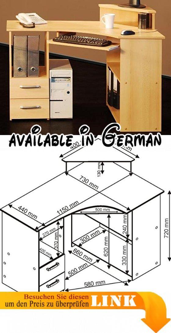 5-5-4-523: made in BRD - PC-Tisch - Eck Schreibtisch -buche dekor - Computertisch. mit robuster und pflegeleichter Kunststoff-Oberfläche. Tastaturauszug auf Metallschienen. Griffe in Metall-Optik. Abmessungen (B/T/H): 115 x 44 (73) x 72 (85) cm #Küche & Haushalt #HOME_FURNITURE_AND_DECOR