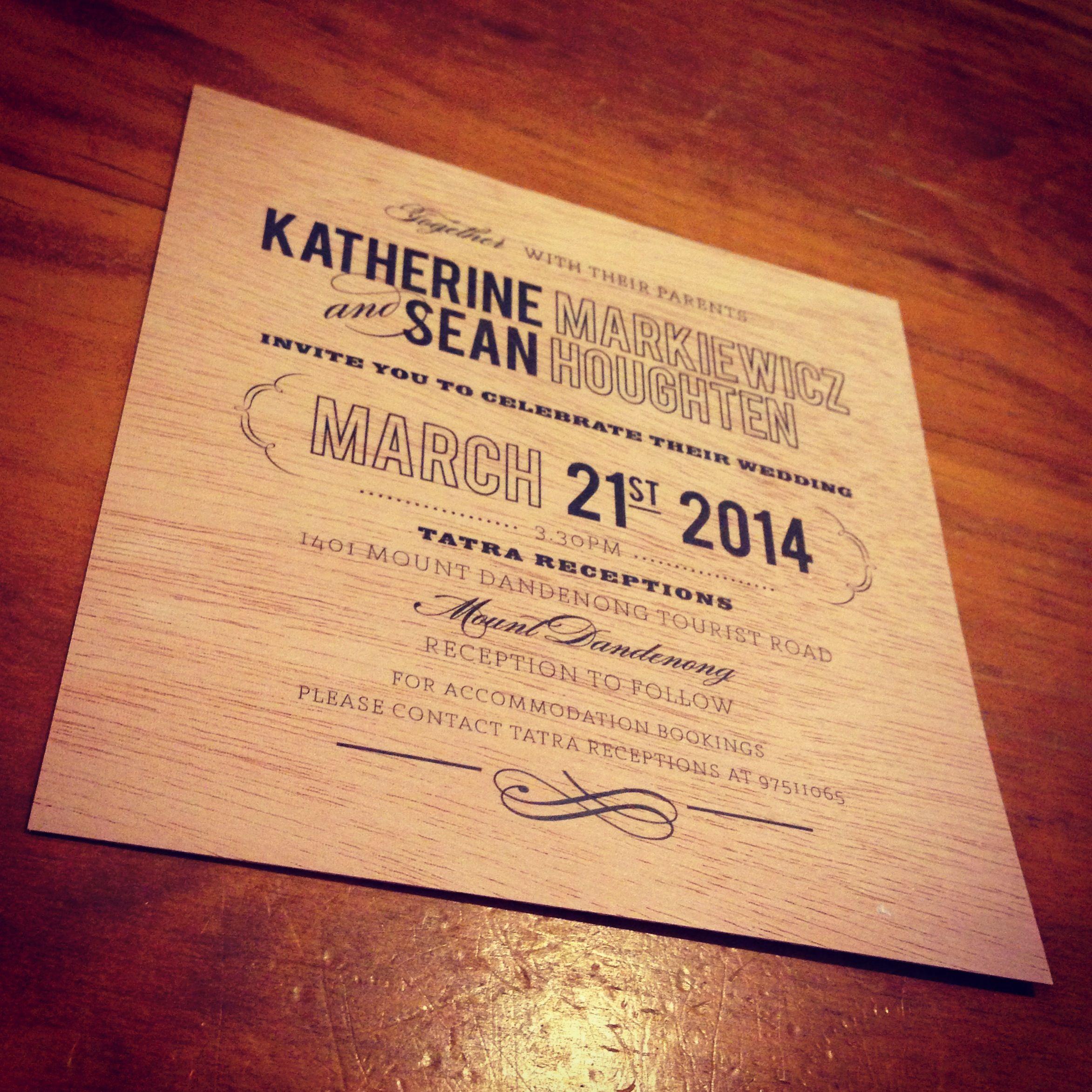 Wedding Invitations Printed On Mahogany Wood By The Print Fairy
