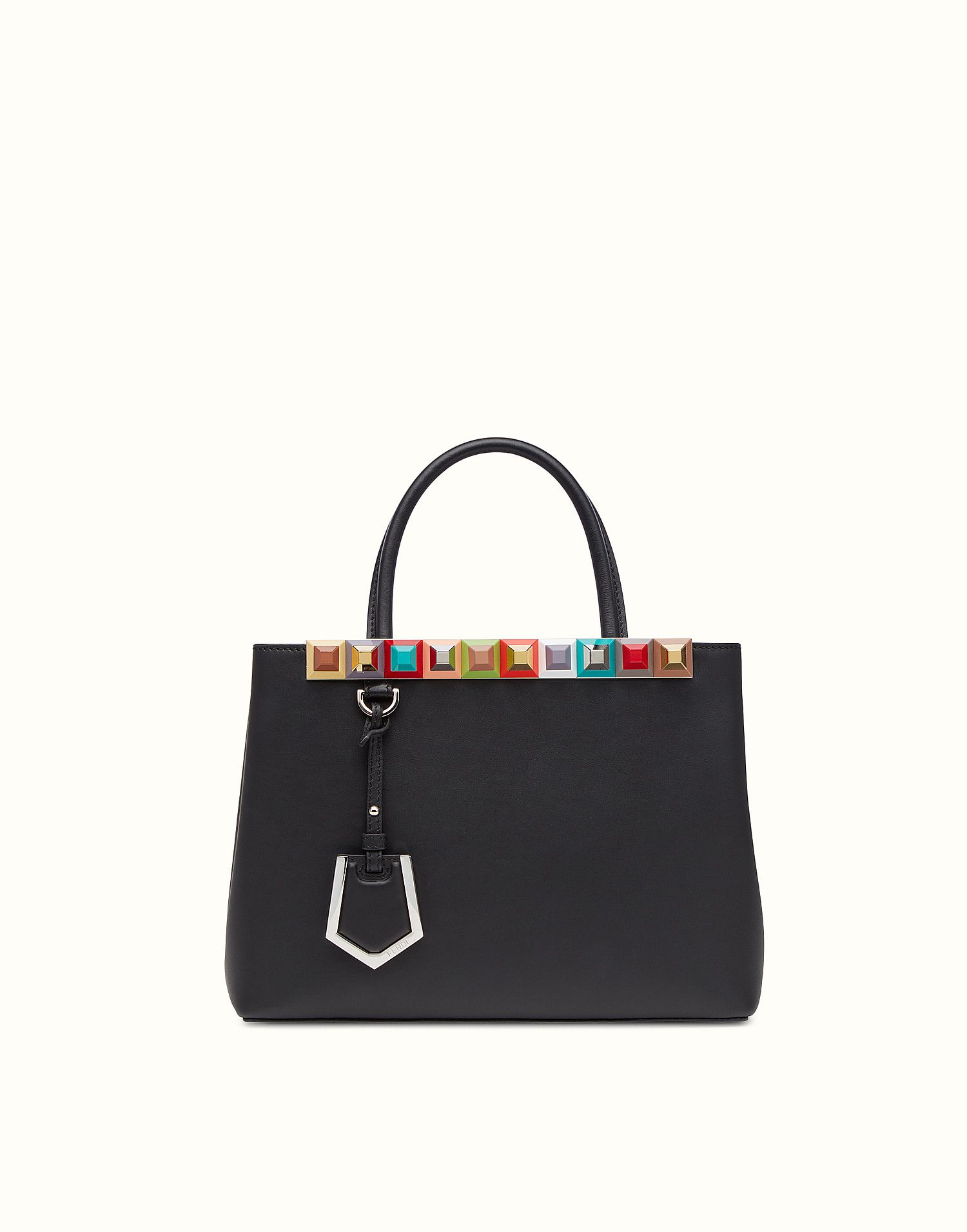 cf5a4ef5ce00 FENDI PETITE 2JOURS - black leather shopper bag with multicoloured studs -  view 1 zoom