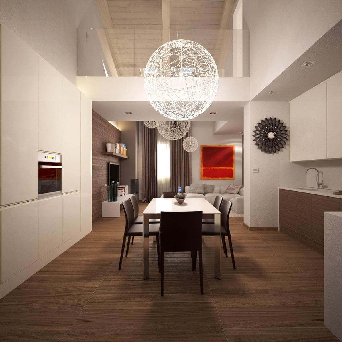 Space Saving Furniture For An Organized Home: Smart Dining Room In Large  Kitchen Space Adorned With Exquisite Chandeliers And Modern Dining .