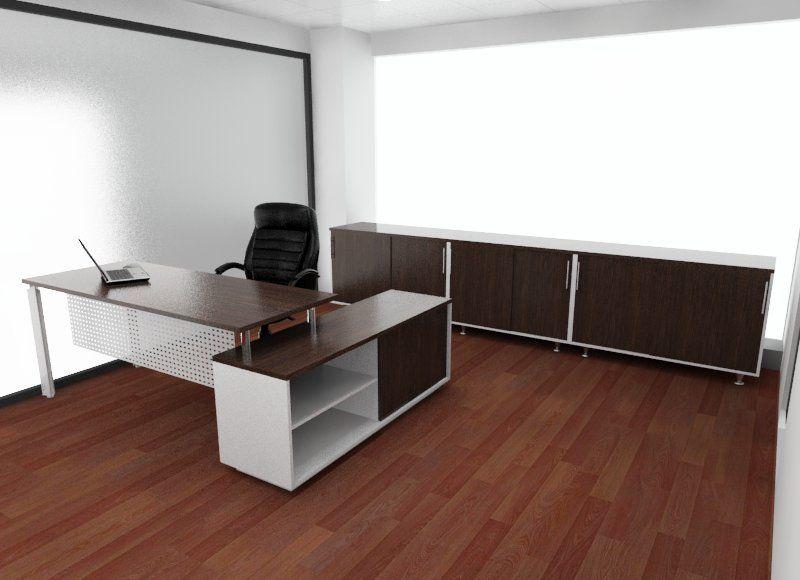 escritorio recto con gabinete biblioteca bajo especial