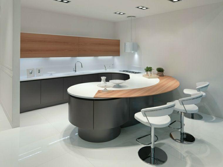 Idea arredamento cucina ad angolo con zona bar e sgabelli alti in