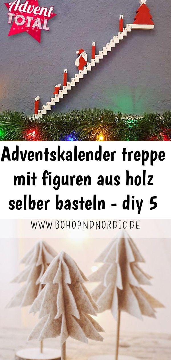 Adventskalender treppe mit figuren aus holz selber basteln – diy 5