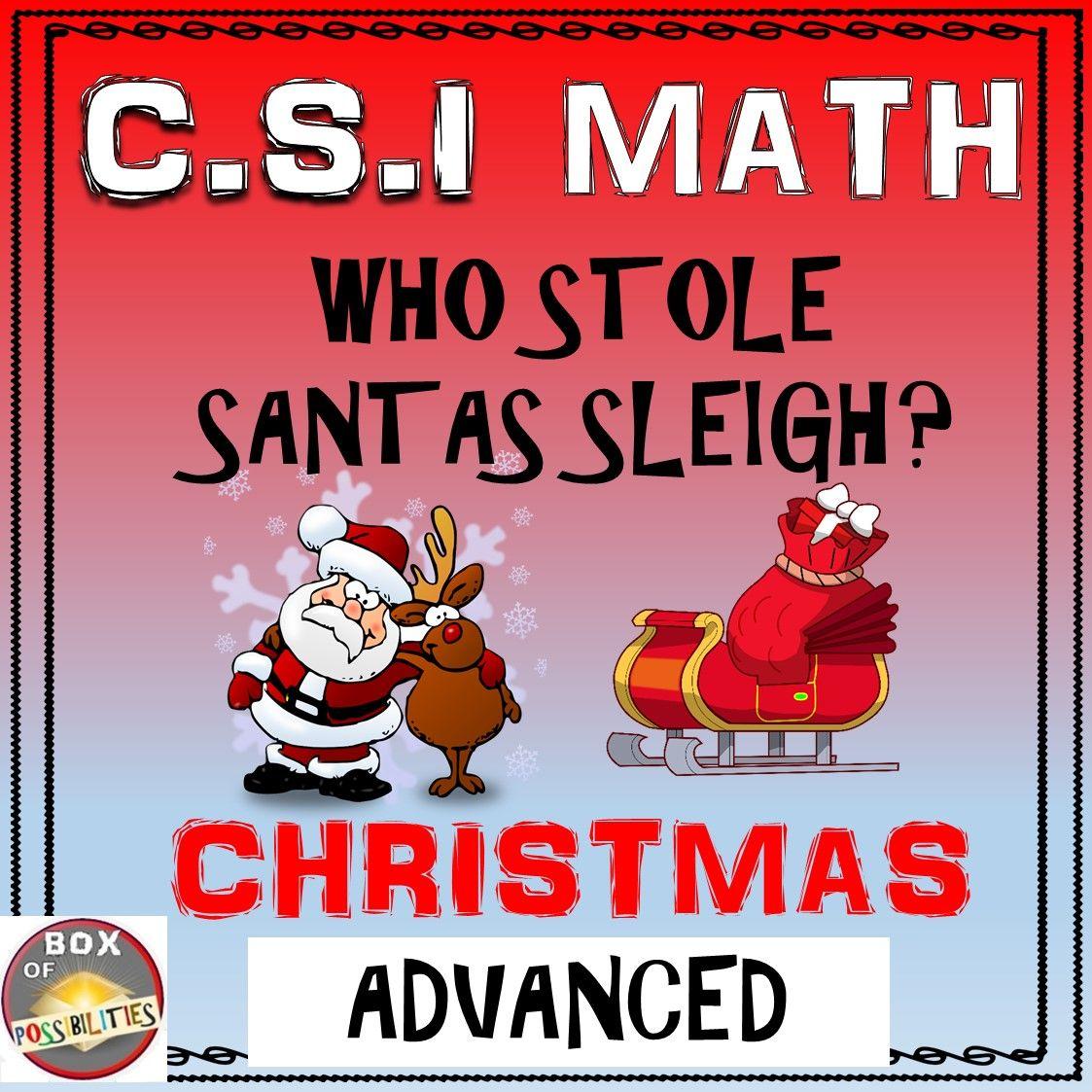 Christmas Csi Math Activity Advanced