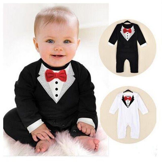 ZOEREA Baby Boys Tuxedo Gentleman Onesie Overalls Jumpsuit Wedding Suit 3-18M