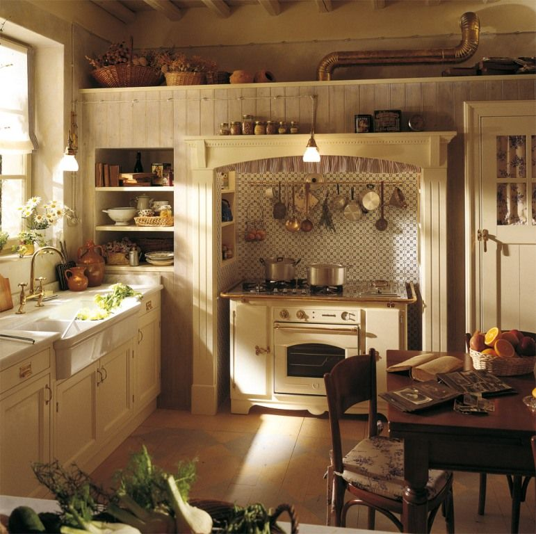 Charming Country Kitchen Decorations With Italian Style: Old World Style Kitchens : Shabby Chic