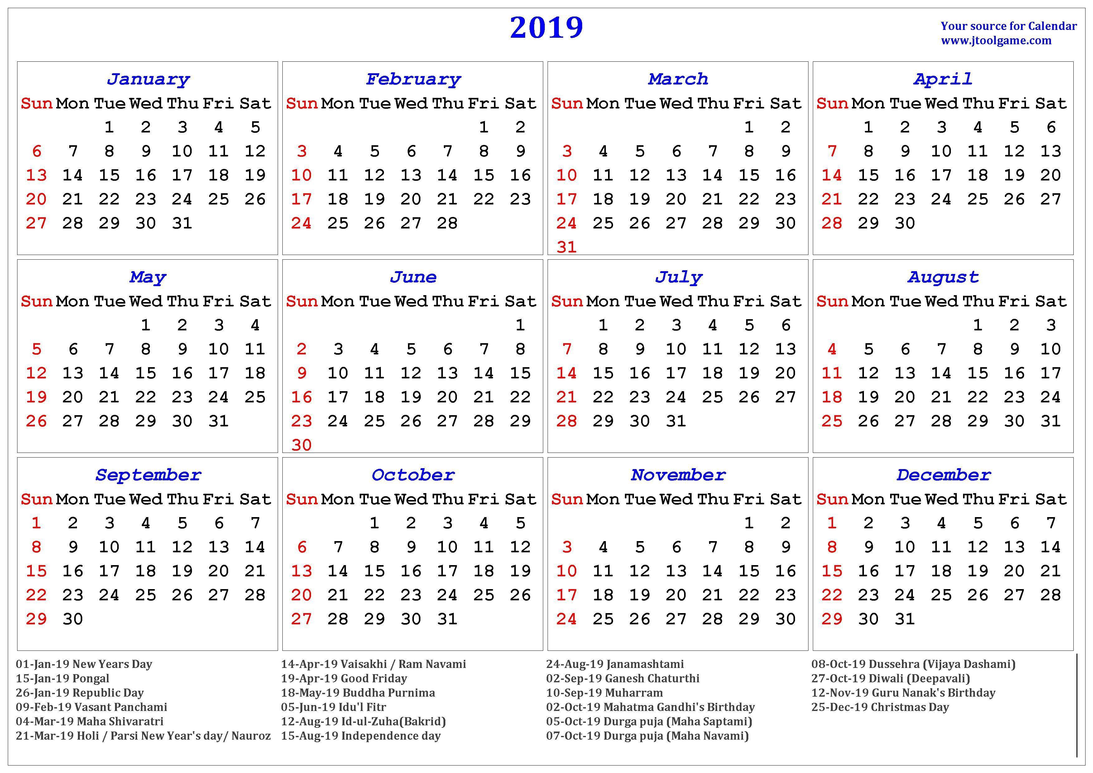 2019 Hindu Calendar with Tithi Tyohar, Holidays
