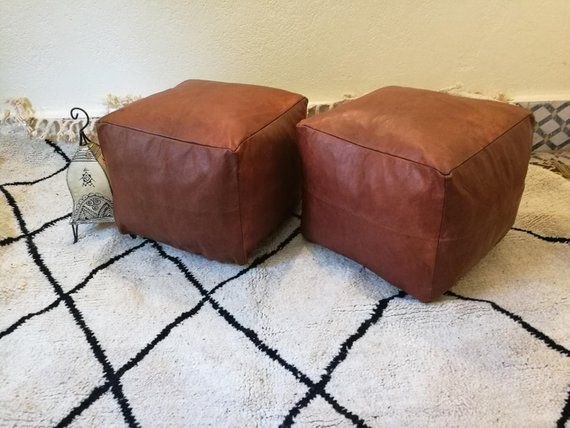Surprising This Set Of Two Leather Poufmoroccan Handcrafted Leather Lamtechconsult Wood Chair Design Ideas Lamtechconsultcom