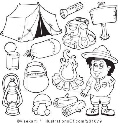 Camping Clipart Black And White Thema Kamperen Vakantie
