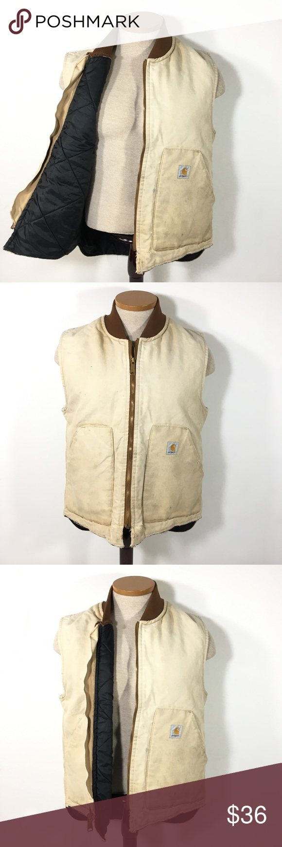 Carhartt Arctic Quilted Cotton Canvas Vest Faded M Carhartt Mens