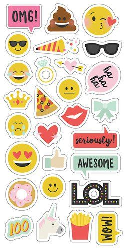 Simple Stories - Emoji Love Collection - Chipboard Stickers