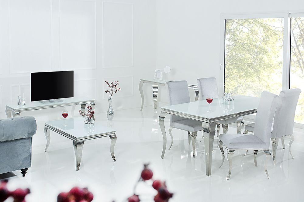 Eleganter Couchtisch Modern Barock 100cm Silber Mit Weissem Opalglas In 2020 Esstisch Modern Couchtisch Modern Moderner Barock