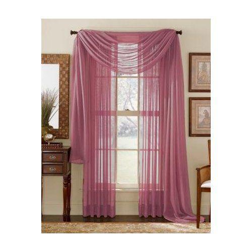 "Sheer Kitchen Curtains Amazon Com: Amazon.com: 84"" Long Sheer Curtain Panel"