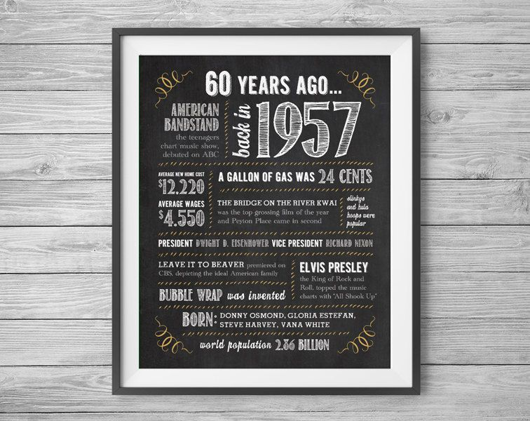 60th birthday or anniversary sign  printable 8x10 and