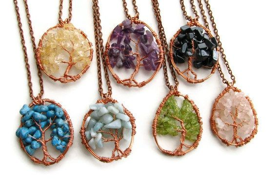 Gemstone Tree of Life Necklace Copper Wire Wrapped by heversonart