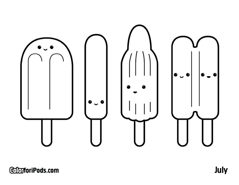 Popsicle Coloring Page Book Designs Trend
