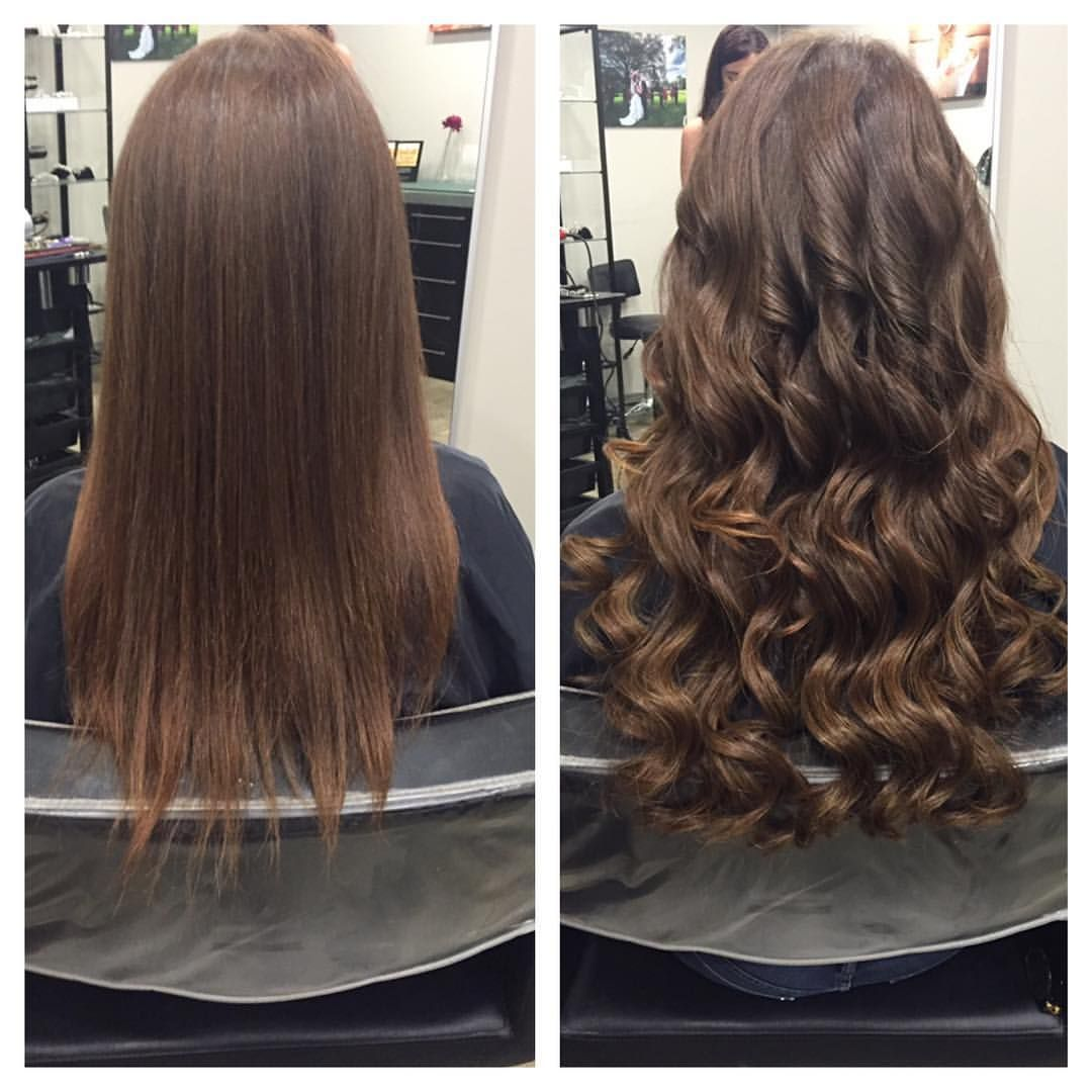 Before After Great Lengths Fusion Hair Extensions In Wavy Brown