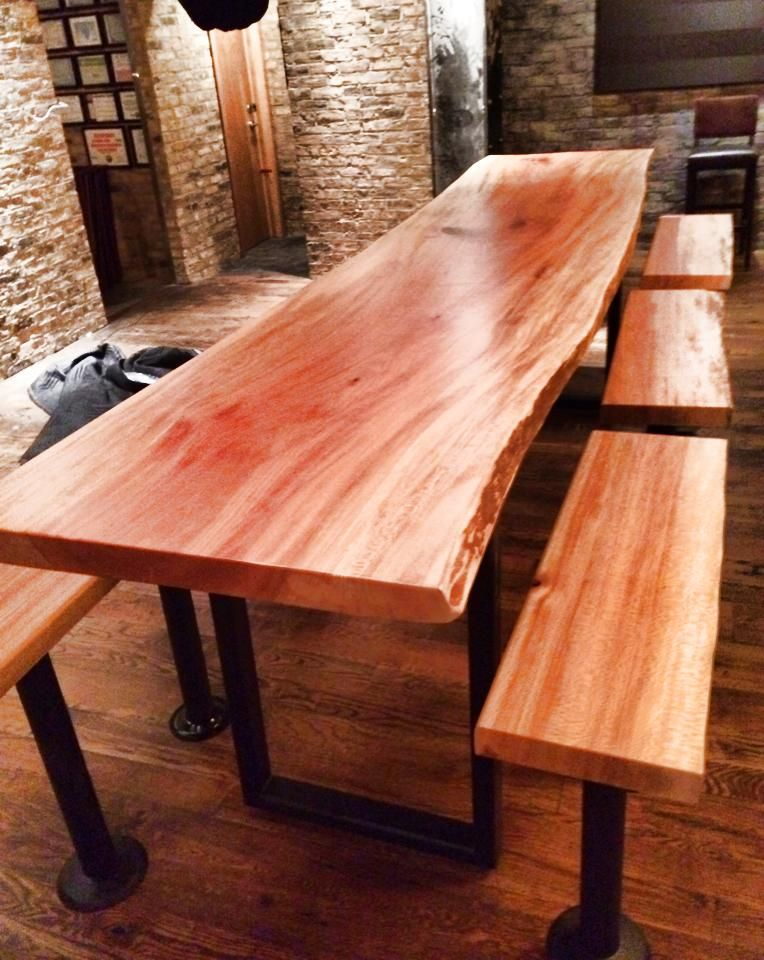 live edge sycamore slab installed at ramen san in chicago u shaped legs by reclaimed table too. Black Bedroom Furniture Sets. Home Design Ideas