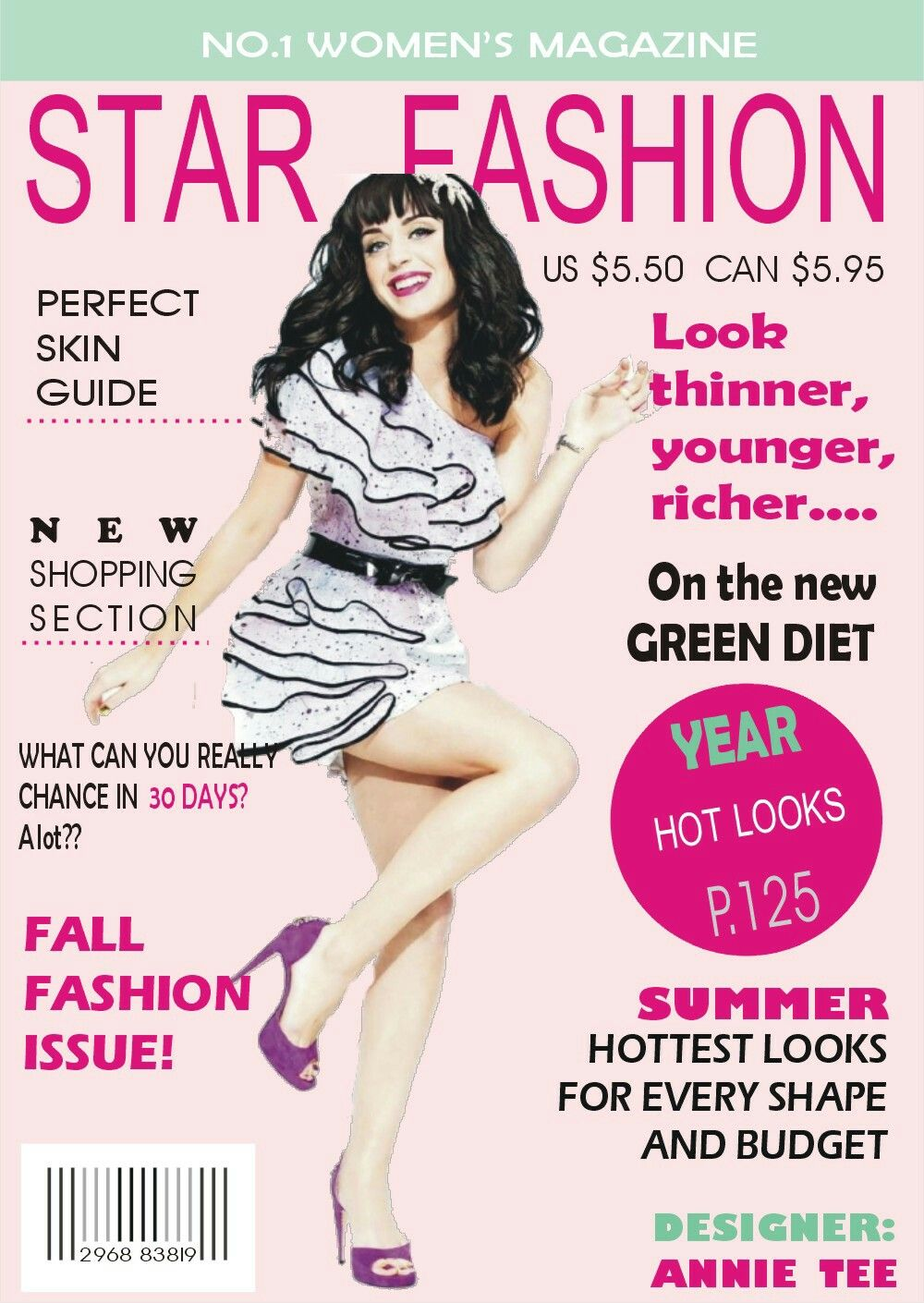 Star Fashion Magazine Cover Page Designed By Annie Tee Designs Magazine Cover Design Magazine Cover Magazine Cover Page